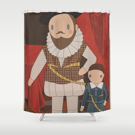 Sir Walter Raleigh Cute Portrait illustration Shower Curtain