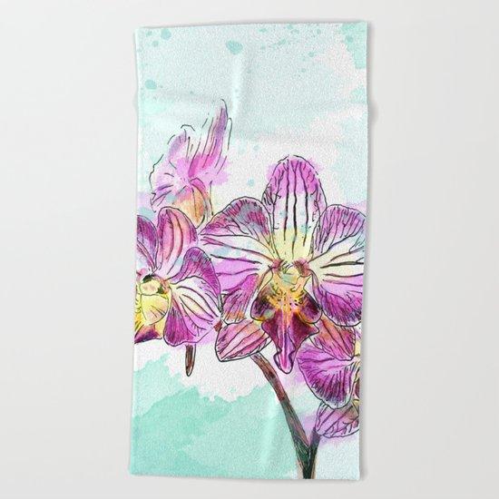 Orchids 02 Beach Towel
