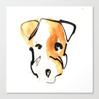 jack russell Canvas Prints featuring Jack Russell by Jen Moules