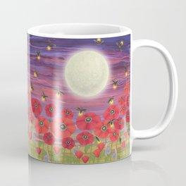 purple sky, fireflies, snails, and poppies Coffee Mug