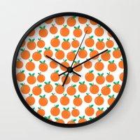 vegetarian Wall Clocks featuring Oranges - sweet fruit summer fresh vegan vegetarian juicing cleanse art print home office decor by CharlotteWinter