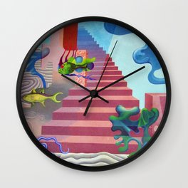 Down to the Sea Bottom, Octopus's Garden landscape painting by Hilaire Hiler Wall Clock