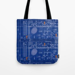 Blue Blueprint with Construction Workers & Tennis Racquet Tote Bag