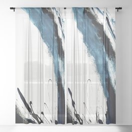 Reykjavik: a pretty and minimal mixed media piece in black, white, and blue Sheer Curtain