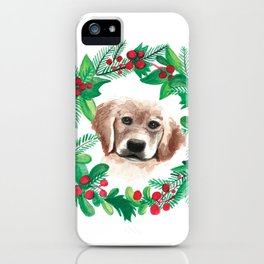 Golden Retriever Christmas Holiday Watercolor Card iPhone Case