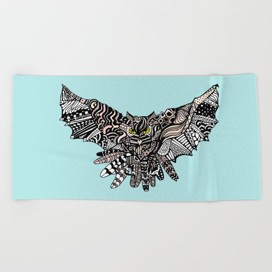 Dragon Owl (Color) Beach Towel