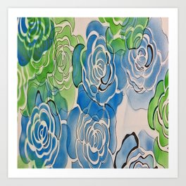 Bue and Green Roses Art Print