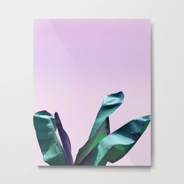 Purple Wall Art Banana Leaves Metal Print