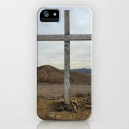 Cross with boots on ground - Calico Ghost Town cemetery iPhone Case