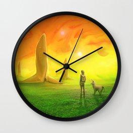 Contemplating an orange world Wall Clock