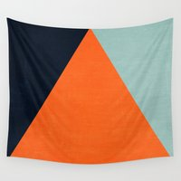mod Wall Tapestries featuring mod triangles - autumn by her art
