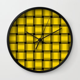 Large Gold Yellow Weave Wall Clock