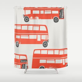 London Double Decker Red Bus Shower Curtain