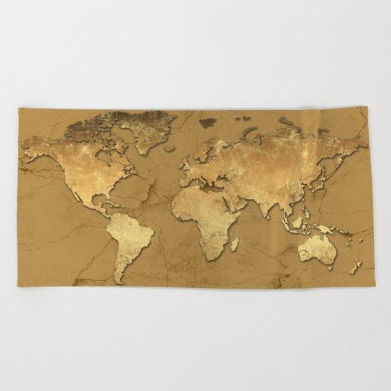 world map marble gold 3 Beach Towel