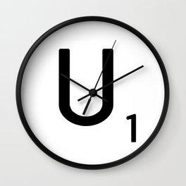 Letter U - Custom Scrabble Letter Tile Art - Scrabble U Initial Wall Clock