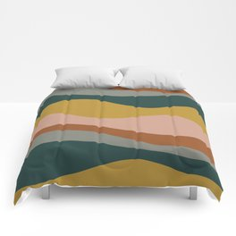 Retro Waves Minimalist Pattern 2 in Rust, Blush Pink, Gray, Navy Blue, and Mustard Gold Comforters