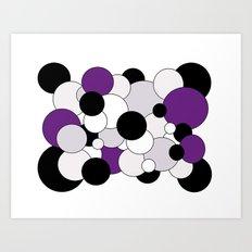 Bubbles - purple, black, gray and white Art Print