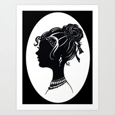 Old Fashioned Vanity , Beauty Fashion illustration black white  Art Print