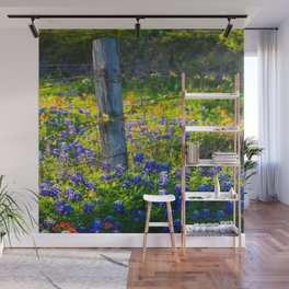 Country Living - Fence Post and Vines Among Bluebonnets and Indian Paintbrush Wildflowers Wall Mural