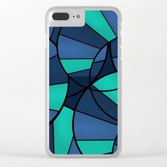 With blue turquoise and black abstract pattern . Clear iPhone Case