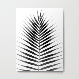 Palm Leaf Watercolor | Black and White Metal Print