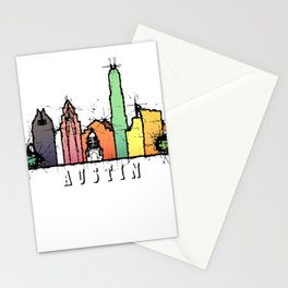 Austin Texas Colorful Silhouette Stationery Cards