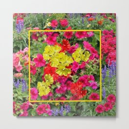 Nature Art  Yellow Fuchsia Red Floral Garden Metal Print