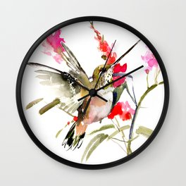Hummingbird and Pink Flowers Wall Clock