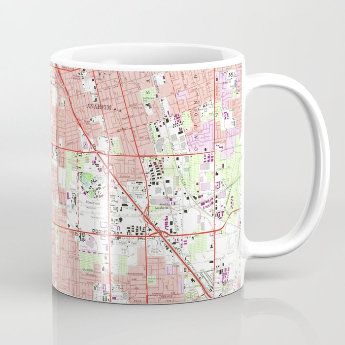 Vintage Anaheim & Garden Grove CA Map (1965) 2 Coffee Mug by bravuramedia