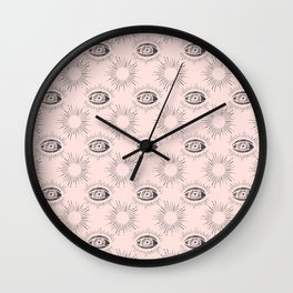 Sun and Eye of wisdom pattern - Pink & Black - Mix & Match with Simplicity of Life Wall Clock