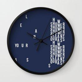 CLEAN YOUR ASS (navy) Wall Clock