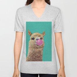 cute alpaca blowing bubble Unisex V-Neck