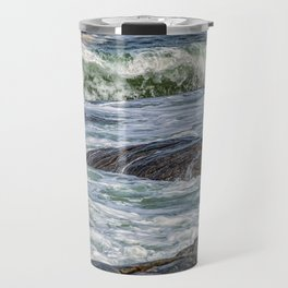Waves at the rocky shore Travel Mug
