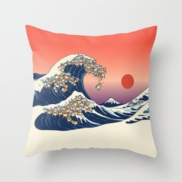 The Great Wave of Shiba Inu Throw Pillow