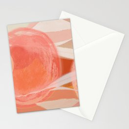 Shapes and Layers no.22 - Pink, coral, peach, orange abstract painting Stationery Cards
