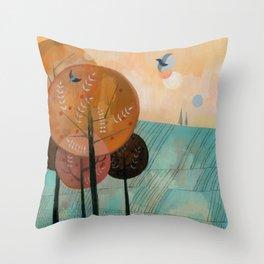 Trees & Birds Throw Pillow