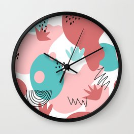 Teal and Pink Geometry Wall Clock
