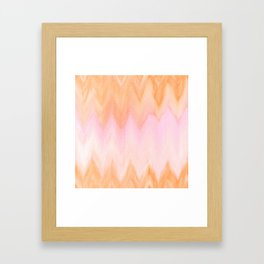 Blush pink orange watercolor hand painted ombre ikat Framed Art Print
