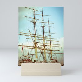 Vintage Big Ship in Gdynia Mini Art Print