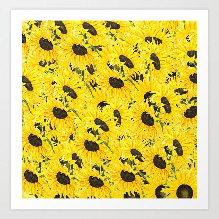 sunflower pattern 2018 1 Art Print