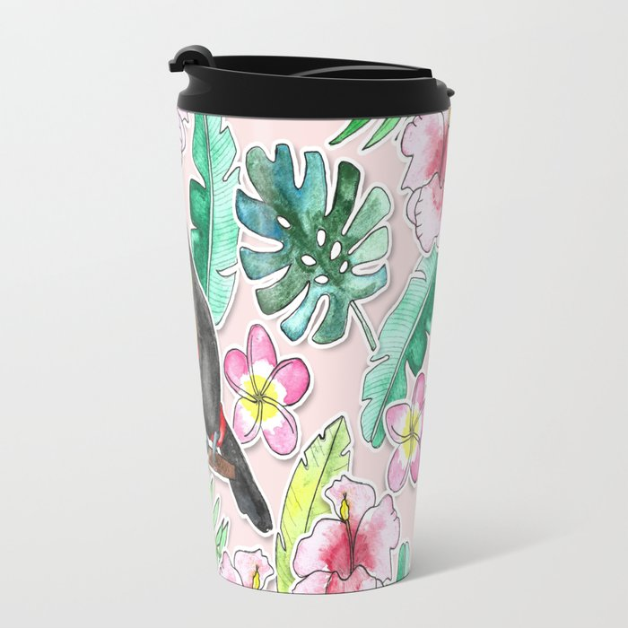 Tropical Toucan Paper-Cut Floral Travel Mug