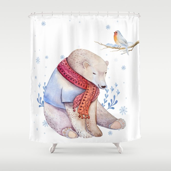 Christmas bear #2 Shower Curtain
