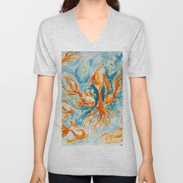 Sparkly Gold Goldfish watercolor by CheyAnne Sexton Unisex V-Neck