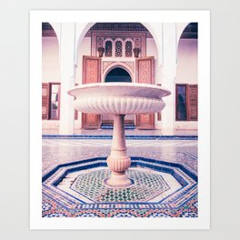 Tiled Moroccan Fountain in a Courtyard Fine Art Print Art Print