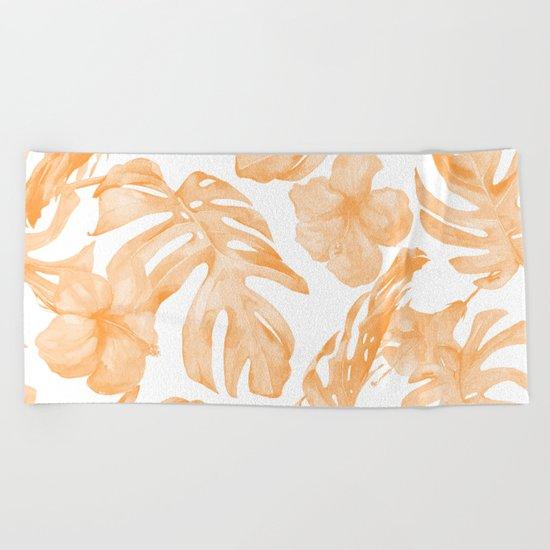 Island Vacation Hibiscus Palm Leaf Coral Orange Beach Towel