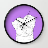 yorkie Wall Clocks featuring Yorkie by FeliciaR