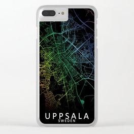 Uppsala, Sweden, City, Map, Rainbow, Map, Art, Print Clear iPhone Case