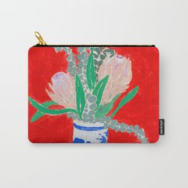 Protea Still Life in Red and Delft Blue Carry-All Pouch