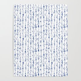 Ancient Japanese Calligraphy // Dark Blue Poster