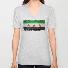 Syrian independence flag, grungy Unisex V-Neck